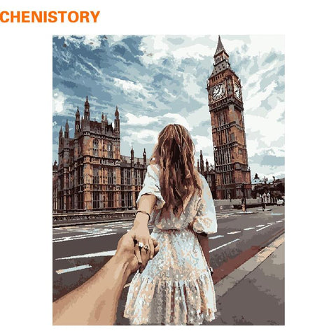 $15.64- Chenistory Romantic Hand In Hand Diy Painting By Numbers Modern Wall Art Handpainted Oil Painting For Wedding Decoration 40X50Cm