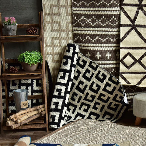 $152.98- Kilim 100% Cotton Handmade Carpet Geometric Bohemia Indian Black White Rug Plaid Striped Modern Contemporary Design Nodic Style