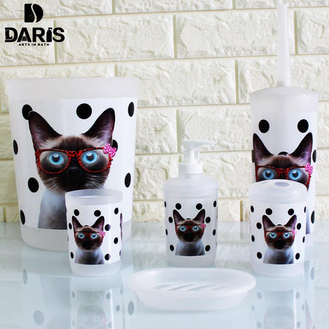 Sdarisb 6Pcs Cartoon Cat Bathroom Accessory Soap Dish Dispenser Bottle Toothbrush Holder Set Home Bathroom Products Wash Set