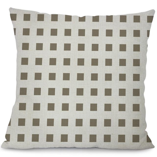 $6.82- Miracille Grey Geometry Series Cushion Covers Cotton Linen Lattice Flower Pillow Case For Sofa Bed Home Nordic Decorative