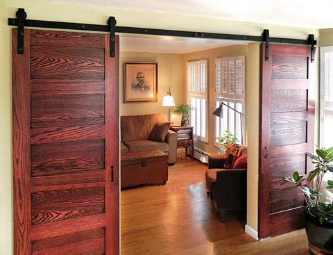 Diyhd 8Ft13Ft Double Sliding Barn Door Hardware Rustic Black Double French Door Cabinet Door Track Kit