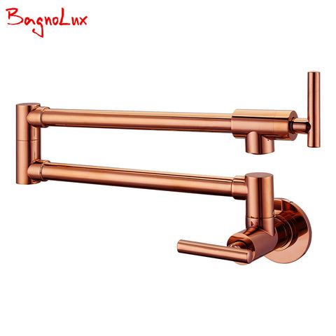 $105.60- Bagnolux Solid Brass Kitchen Wall Mount Pot Filler Faucet Swivel Spout Cold Water Only W/ Dual Swing Rose Gold Tap