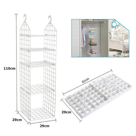$67.18- Folding Wardrobe Clothes Underwear Storage Rack Hooks Home Closet Plastic Storage Shelves Hanging Closet Shelves Storage Holder
