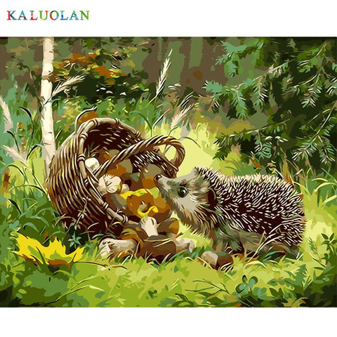 $13.62- Frameless The Hedgehog Animal Diy Painting By Numbers Kits Coloring Oil Painting On Canvas Drawing Home Artwork Wall Art Picture