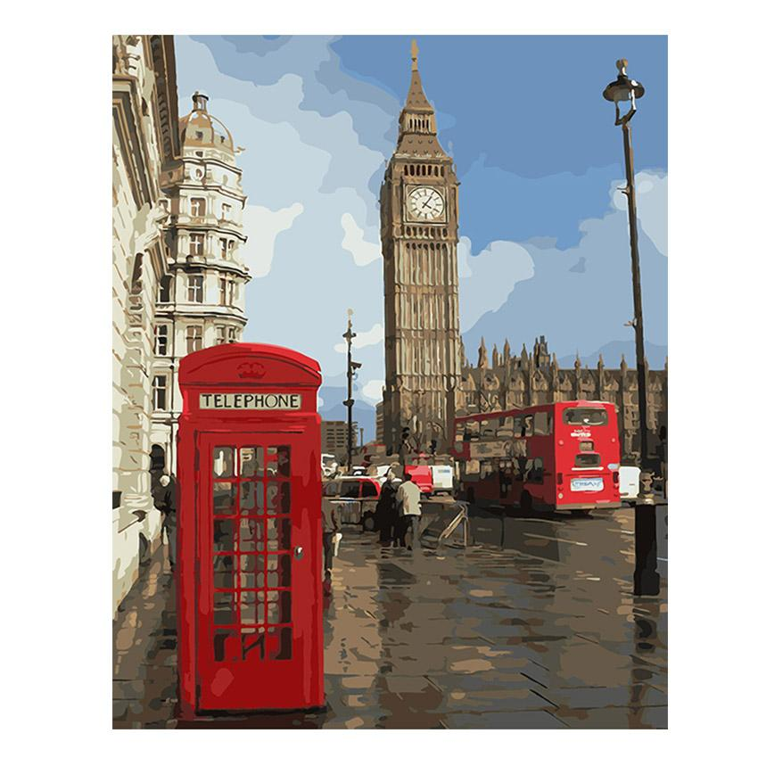 $15.20- Ween London City Painting By Numbers Modern Big Ben Digital Wall Canvas Art Booth Coloring By Number For Home Wall Artwork Gift