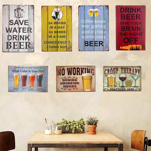 $9.48- Vintage Shabby Chic Metal Tin Signs Beer Wine Art Posters Bar Pub Restaurant Coffee Cafe Rustic Home Decor Wall Plaques Wall Sti