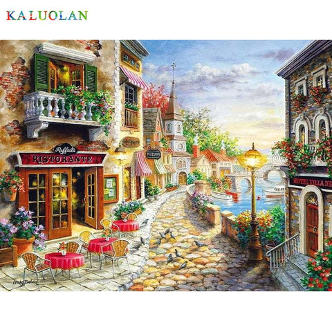 $13.93- Frameless Wall Decor Diy Painting By Numbers Hand Painted Canvas Painting For Living Room Coastal Town