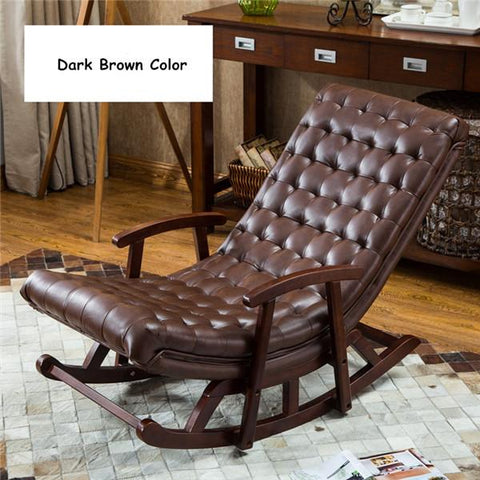 $512.58- Modern Leather&Wood Rocking Lounge Chair Armchair Living Room Bedroom Furniture Comfortable Relax Rocker Chair