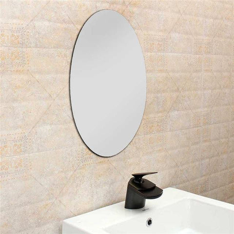 $16.79- 42X27Cm Oval Removable Decorative Mirror Sticker Acrylic 3D Crystal Wall Mirror Sticker Art Home Living Room Wall Decoration