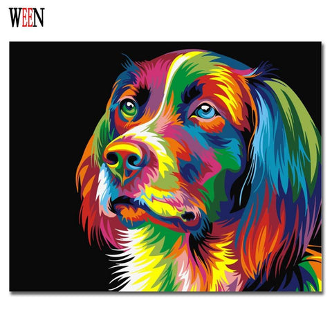 $14.06- Ween Colorful Dog Abstract Painting Diy Digital Paintng By Numbers Modern Animals Wall Art Picture For Home Wall Artwork