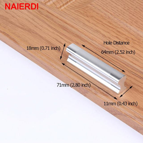 $3.19- NAIERDI Aluminum Alloy Handles Kitchen Door Modern Wardrobe Handle Drawer Pulls Cupboard Cabinets Knobs Furniture Hardware