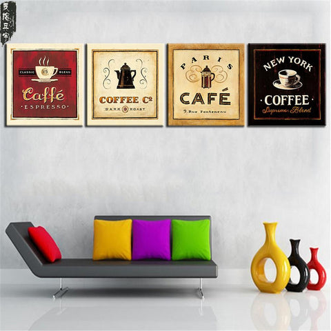 $13.40- Unframed Cup Of Coffee Tea Poster Modern Canvas Print Oil Painting Wall Art Picture For Kitchen Room Decoration Artwork 4 Panel
