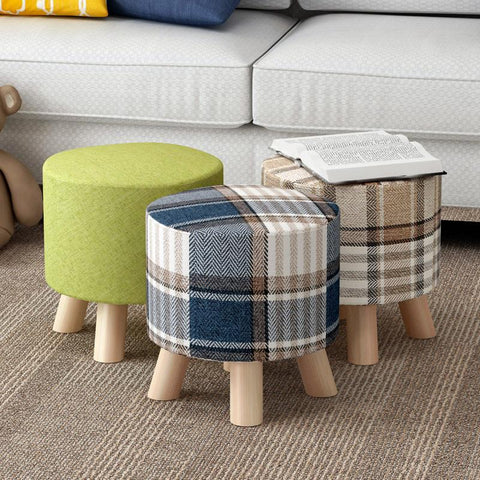 $86.58- Wooden low cloth sofa round stool change shoe ottoman cartoon solid wood detachable cloth sets Home Furniture