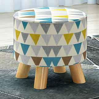 Wooden low cloth sofa round stool change shoe ottoman cartoon solid wood detachable cloth sets Home Furniture