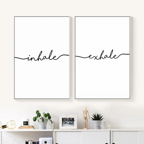 $7.43- Inhale Exhale Nordic Poster Minimalist Canvas Art Prints Wall Art Painting Decorative Picture Living Room Decoration Home Decor