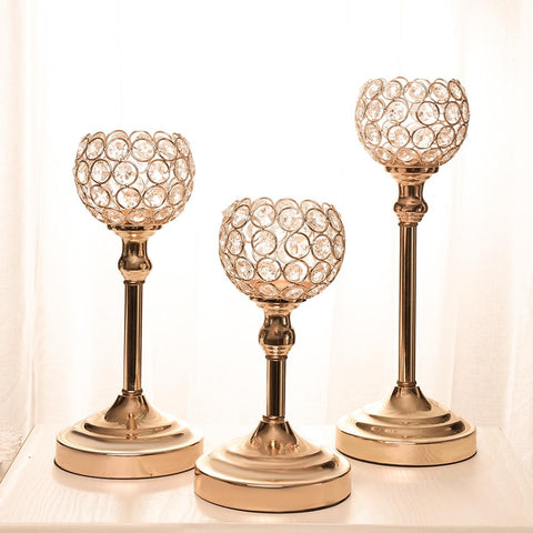 Wedding Candelabra Centerpieces Center Table Candlesticks Parties Decor K9 Crystal Candle Lantern Gold Candle Holders