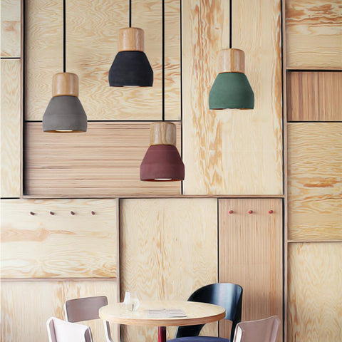 $110.17- 4 Color Brief Loft Nordic Style Wood Cement Pendant Lights Modern Light Led E27 Cord Lamp Restaurant Living Room Cafe Bedroom