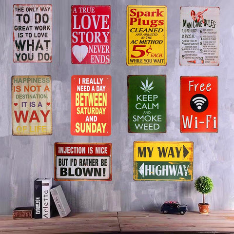 Shabby Chic Metal Tin Signs Spark Plugs Smoking Weed Wall Plaque Poster Restaurant Coffee Cafe Wall Stickers Decor