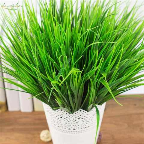 Loveplus7Fork Green Imitation Plastic Artificial Grass Leaves Plant For Home Wedding Decoration Clover Plant