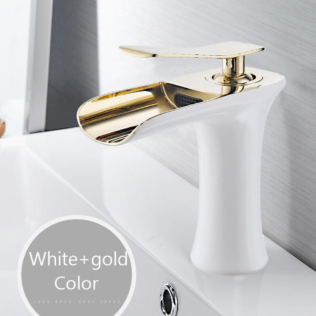 Basin Faucets Waterfall Bathroom Faucet Single Handle Basin Mixer Tap Bath Antique Faucet Brass Sink Water Crane Silver 6009