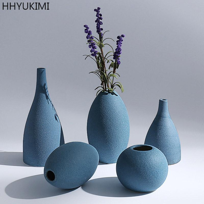 Hhyukimi Zen Mediterranean Frosted Jewelry Ceramic Vases Model/Flower Receptale Tabletop Vase Home Ornaments Furnishing Article