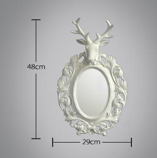 Nordic Resin Deer Head Round Wall Mirror Vintage Statue Home Decor Crafts Wall Decoration Resin Animal MakeUp Mirror Figurines