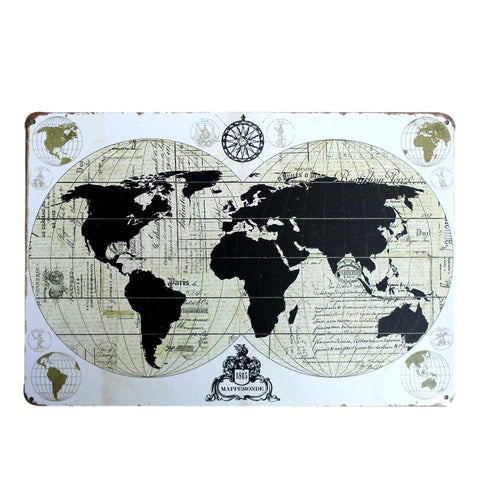 $7.52- Shabby Chic Ancient Maps Wall Decor Metal Tin Sign Cafe Pub Club Gallery Poster Vintage Plaque Home Decoration Plate A879