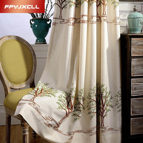 $50.38- Pastoral Embroidered Linen Decoration Blackout Curtains For Living Room Bedroom Window Treatments Room Curtains Drapes