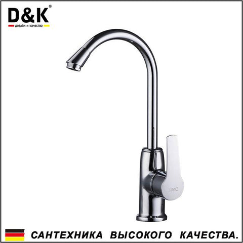$84.55- D&K Kitchen Faucets Chrome Brass Single Handle 360 Degree Rotation Hot and cold water tap DA1362401