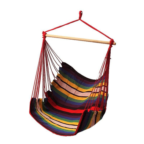 Sgodde Garden Patio Porch Hanging Cotton Rope Swing Chair Seat Hammock Swinging Wood Outdoor Indoor Swing Seat Chair Hot