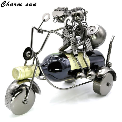 $71.42- 34*18*24Cmthe Metal Iron Handmade Plating Style Couple Motorcycle Wine Rack Home Furnishing Office Deco Practical Wine Holder