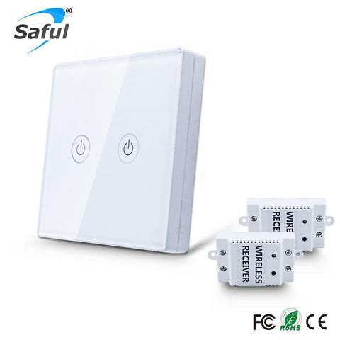 $26.40- Wall Light Touch Switch 2 Gang 2 Way Wireless Remote Control Touch Switch Power For Light Crystal Glass Panel Wall Switch