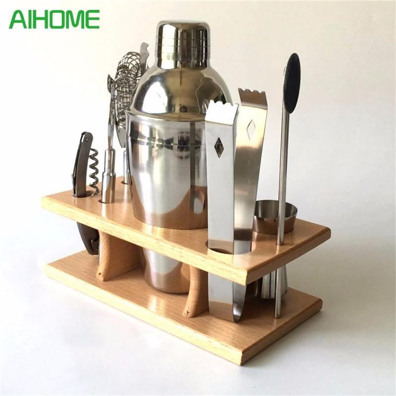 $67.69- 8Pcs/Set Professional Bartender Stainless Steel Cocktail Bartender Shaker Silver Wine Tools Barware Tools 350Ml Cocktail Shaker