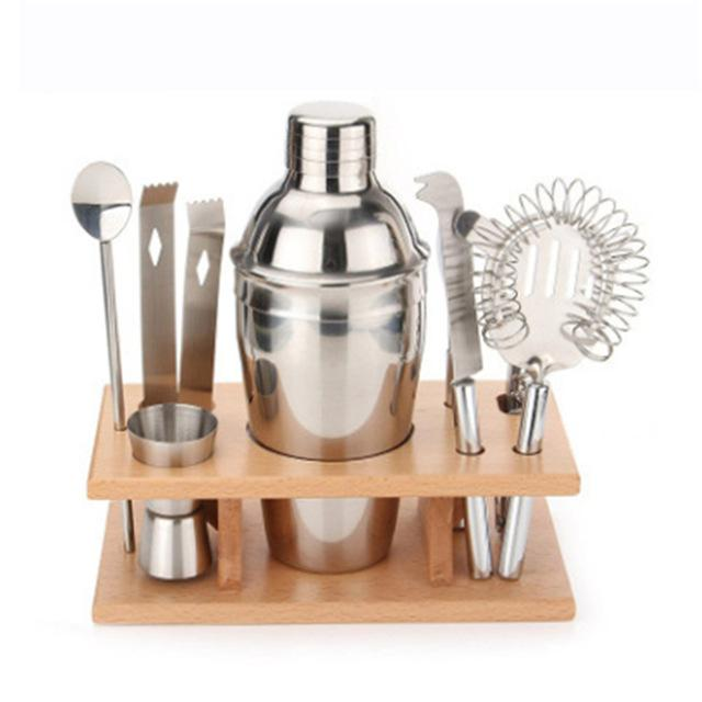 $68.24- 8Pcs/Set Professional Bartender Stainless Steel Cocktail Bartender Shaker Silver Wine Tools Barware Tools 350Ml Cocktail Shaker