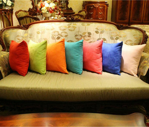 $8.06- Hot s Fashion Customizable Two Sided Suede Pure Colorful Decorative Throw Pillows For Sofa Car Cushions Home Decor