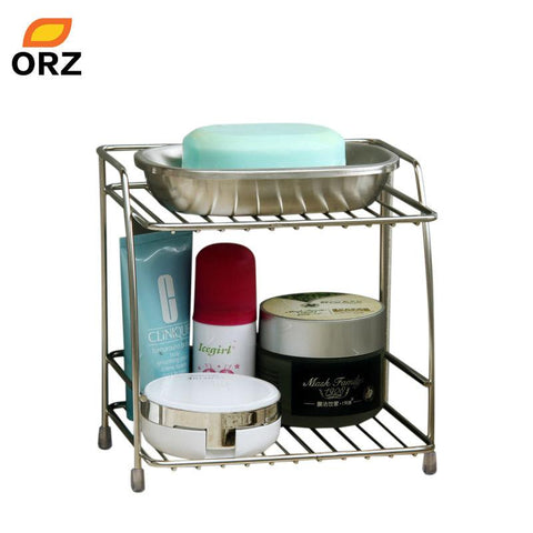 $23.43- Orz 2Layers Stainless Steel Storage Rack Spice Condiment Basket Desk Organizer Kitchen Bathroom Storage Holder Rack Shelf