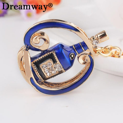 $7.35- Blue/Red Winebottle Key Holder Wine Rack Key Chain Fashion Elegant Keychains Rhinestone Pave Metal Keychains Car Key Finder New