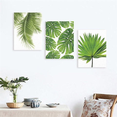 $5.02- Frameless Canvas Painting Nordic Natural Green Plants Wall Art Paintings Art Poster Wall Pictures For Living Room Home Decor