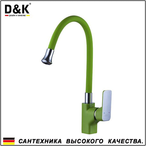 $114.09- D&K Kitchen Faucets Green Chrome Brass Single Handle 360 Degree Rotation Hot and cold water tap DA1432912