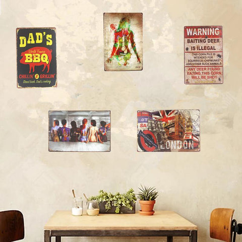 $8.79- Shabby Chic Vintage Metal Tin Signs Pin Up Dad'S Bbq Car Garage Bar Restaurant Coffee Cafe Shop Home Wall Decor