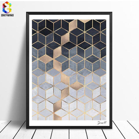$11.42- Nordic Geometric Cube Art Posters Prints Wall Art Canvas Painting Pictures For Living Room Abstract Home Decor