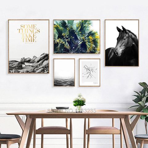 Nordic Decoration Posters Prints Leisurely Holiday Horse Wall Art Canvas Painting Wall Pictures For Living Room Unframed