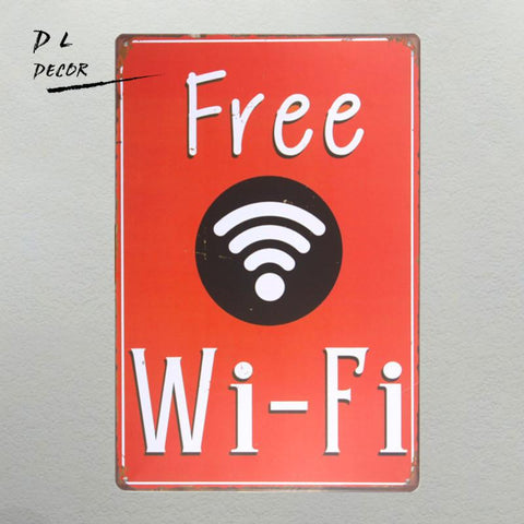 $13.66- Dlnew Wifi Shabby Chic Home Bar Cafe Vintage Wall Decor Art Metal Tin Signs Pub Tavern Retro Decorative Plates