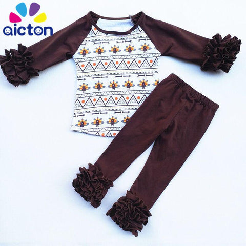 $32.38- Aicton New Design Thanksgiving Raglan Clothing For Children Girls Clothing Boutique Thanksgiving Day Children Outfits