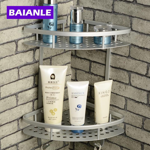 $31.50- Wall Mounted Finish New Space Alumnium Bathroom Shower Shelf Basket Holder Building Materials