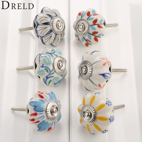 $4.35- DRELD 40mm Furniture Handle Ceramic Drawer Cabinet Knobs and Handles Knobs Door Cupboard Kitchen Pull Handles Furniture Hardware