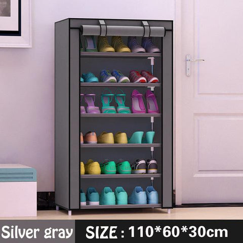 $51.66- Shoe cabinet 7layer 6grid Nonwoven fabrics large shoe rack organizer removable shoe storage for home furniture