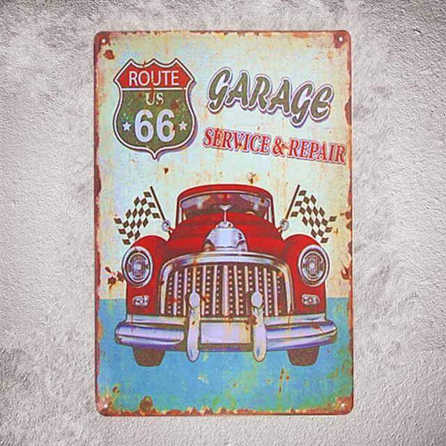 $8.82- Vintage Shabby Chic Metal Tin Plates Pin Up Girl Car Hot Rod Garage Plate Garage Pub Bar Home Wall Decor