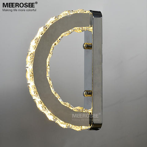 $153.54- Modern Led Wall Light Fixture Crystal Wall Sconce Lustres D Shape Mirror Stainless Steel Beside Lamps For Bedroom Bathroom