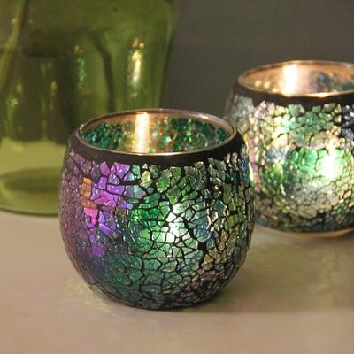$19.04- European Retro Mosaic Glass Candle Holders Romantic Candlelight Dinner Candles Cup Furnishing Articles